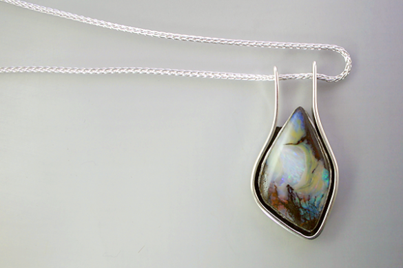 Australian opal pendant handcrafted by Joceyln Hunter in Lafayette Colorado.