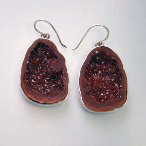 brown geode earrings